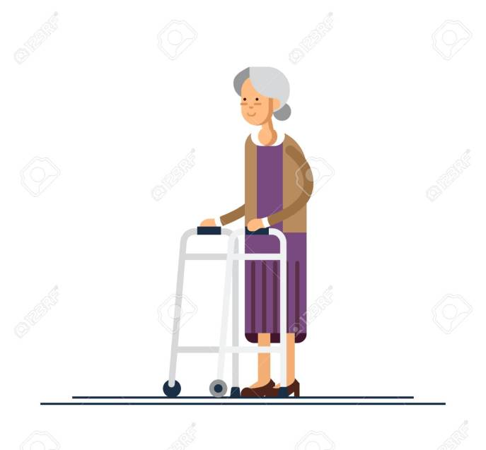 Grandmother walking with a walker. Vector illustration
